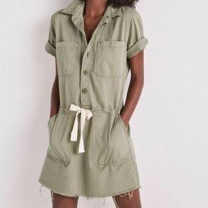 Lucky Brand Button Down Drawstring Cargo Dress